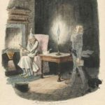 Scrooge in his nightcap by the fire as Marley's Ghost appears